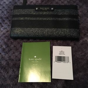 Kate Spade Wallet Stacey black glitter stripe
